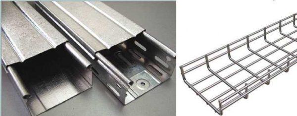 Примеры металлических лотков: цельные, перфорированные, проволочные