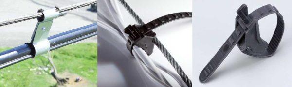 Подвесы для крепления кабеля к тросу