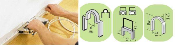 Крепление кабелей при помощи степлера и специальных скоб