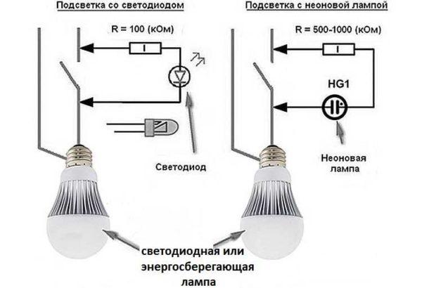Цепь питания светодиодной подсветки выключателя создает условия для заряда конденсатора лампы
