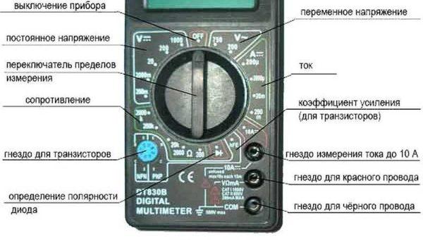 Положение переключателя диапазонов измерений на мультиметре