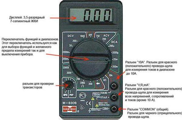 Общее устройство мультиметра