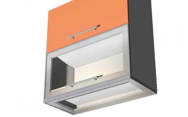 Сделать в шкафах двойное дно, внутрь установить люминесцентный светильник, а стекло закрепить на алюминиевых уголках