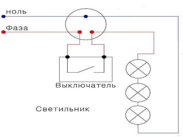 Разводка электропроводки при последовательном подключении точечных светильников
