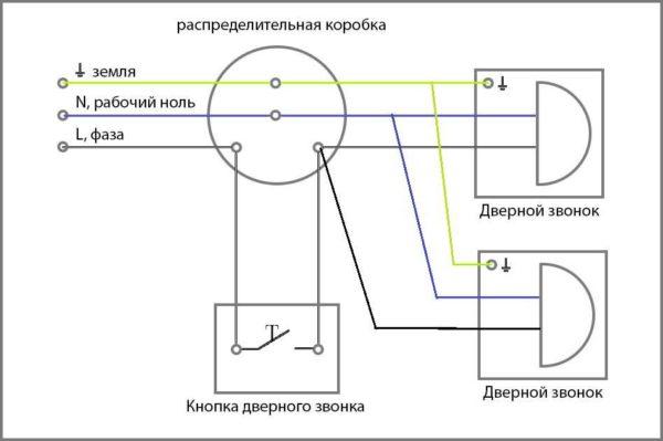 Подключение проводного звонка на двери с двумя звонками