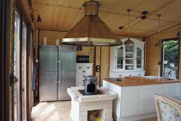 На кухне проводка в стиле ретро тоже смотрится вполне органично