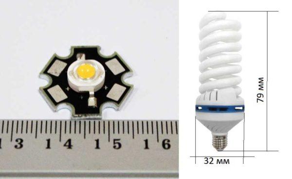 Примерная разница в размерах между светодиодом и энергосберегающей ККЛ лампой одинаковой световой мощности