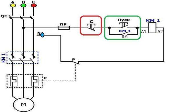 Схема подключения трехфазного двигателя через пускатель на 220 В