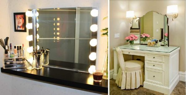 Возле туалетного столика можно много светильников установить или два бра на уровне верхней трети зеркала