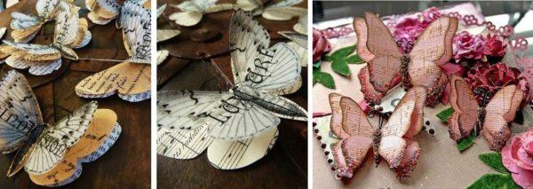 Примеры многослойных бабочек из бумаги