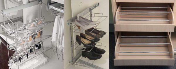 Для рационального использования пространства внутри шкафа купе можно установить обувницу вместо полок