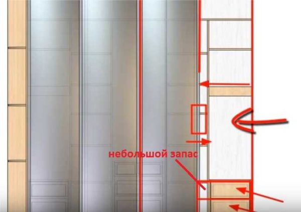 При планировке наполнения шкафа купе обращайте внимание на ширину выдвижных ящиков и дверей