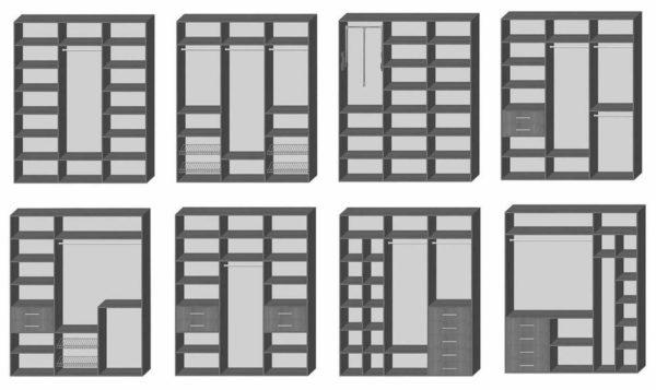 Варианты наполнения шкафа купе небольшой ширины