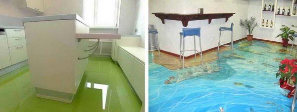 Полимерный и акриловый наливной пол на кухне