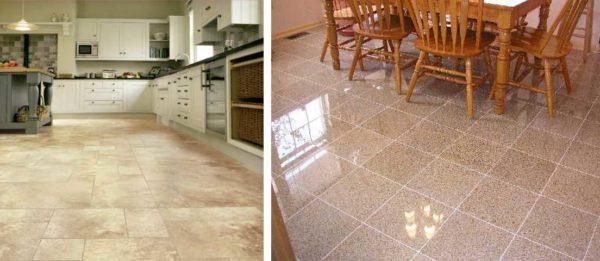 Плитка для напольного покрытия кухни может быть матовой или глянцевой