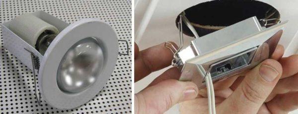 Тсченые светильники для гипсокартона и способ их монтажа