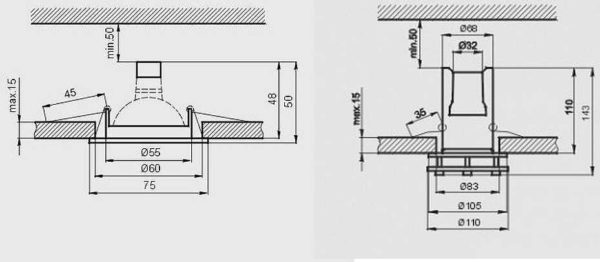 В первом случае достаточно опустить потолок на 10 см, во втором - на 16 см