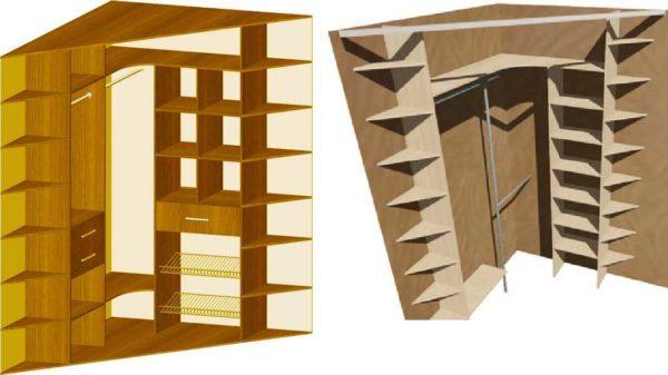 По бокам в диагональном угловом шкафу делают полки