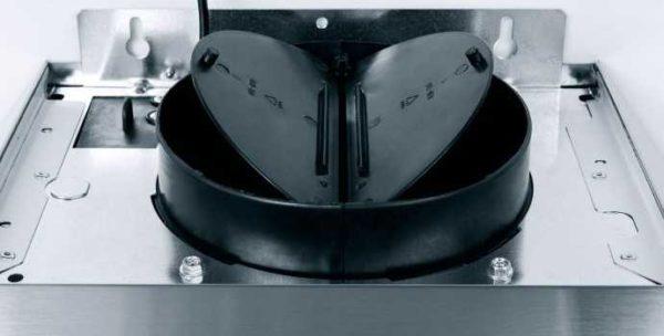 Так выглядит антивозвратный клапан на электровытяжке