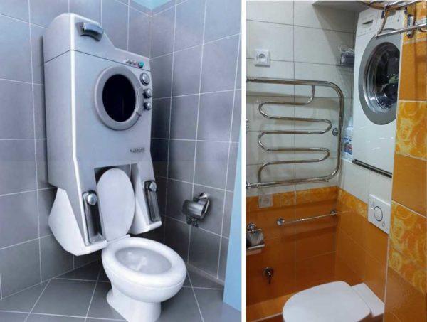 Нестандартные варианты размещения стиралки в ванной