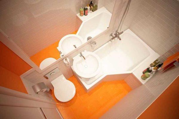 В ванной площадью два квадратных метра используется в основном нестандартная сантехника