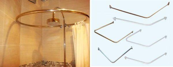 Держатель для шторки в ванной может быть любой формы