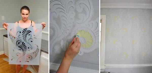 Декоративная покраска стен кухни с использованием трафаретов