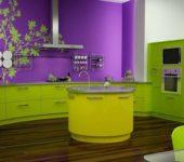 Контрастные цвета - зеленый и сиреневый в одной кухне