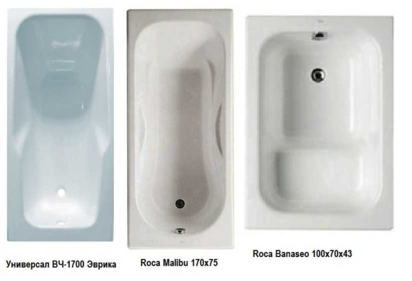 Если говорить о чугунных ваннах обычной формы, они могут быть такими