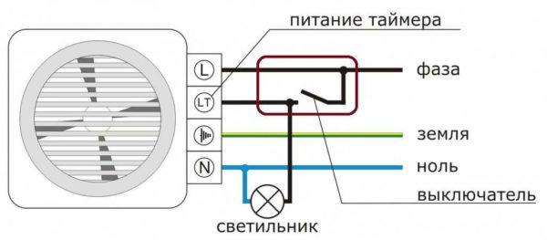 Как подключить питание: вытяжной вентилятор для ванной комнаты с задержкой выключения