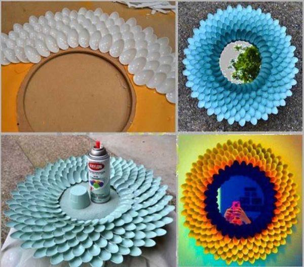 Декор зеркала своими руками: используем пластиковые ложки