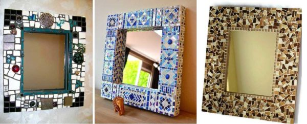 Самодельные рамки для зеркал из мозаики