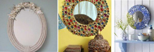 Примеры декора круглого зеркала