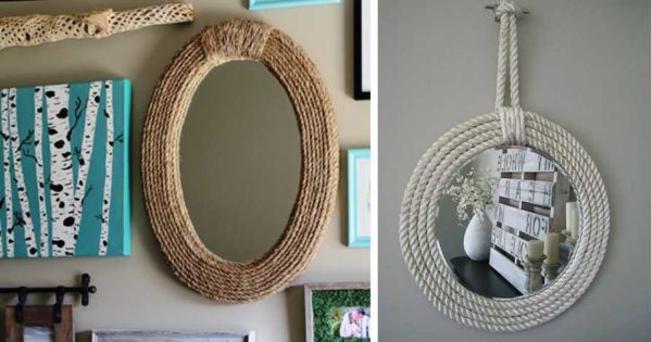 Декор зеркала из каната