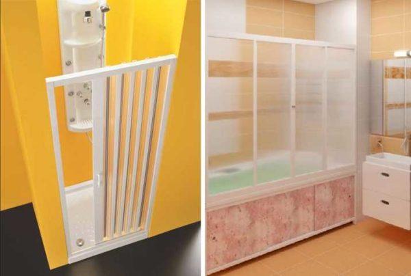 Пластиковые раздвижные шторки для ванны - гармошка (слева) и каркасная (справа)