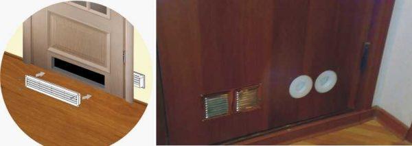 Для установки в двери также есть специальные вентиляционные решетки