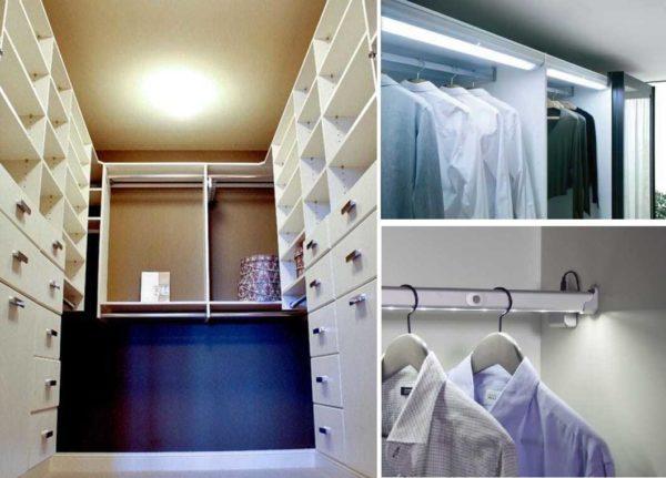 Некоторые варианты освещения а гардеробной