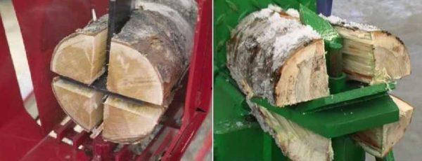 Колун с гидравлическим приводом оснащают сложным резаком, Который разваливает чурбак на несколько поленьев сразу