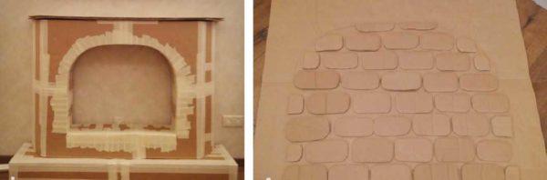 Процесс изготовления камина из картона