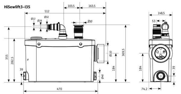 Размеры одной модели насоса для ванной Willo