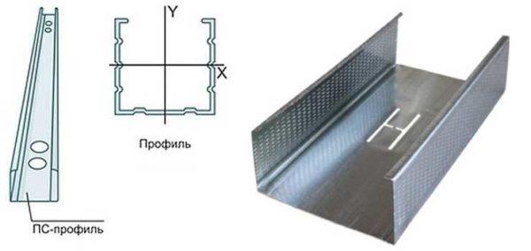 Стоечный профиль для гипоскартона имеет дополнительные ребра жесткости и полочки