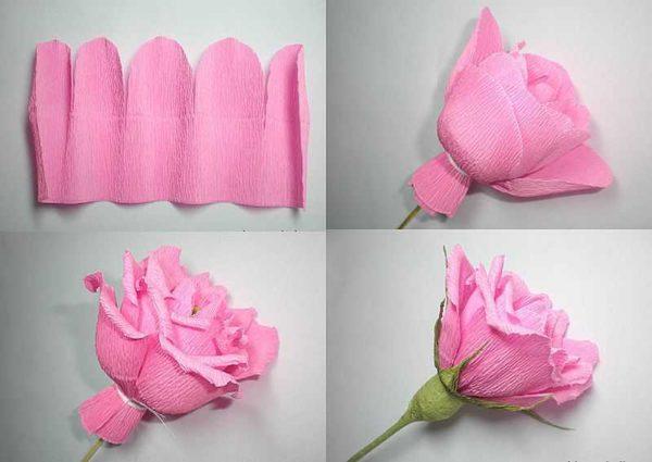 Сделать розу из гофробумаги можно быстро