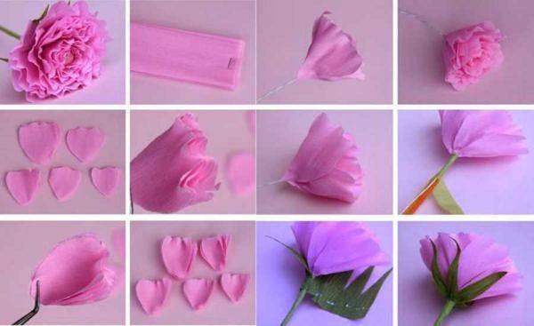 Пошаговые фото изготовления гвоздики из бумаги