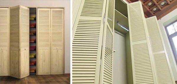 При использовании жалюзи в двери для шкафов, пыль свободно проникает внутрь
