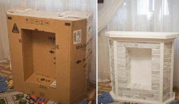 Из одной большой коробки получится средних размеров камин