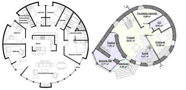 Планировка купольного дома: рассматриваем способы организации входной группы
