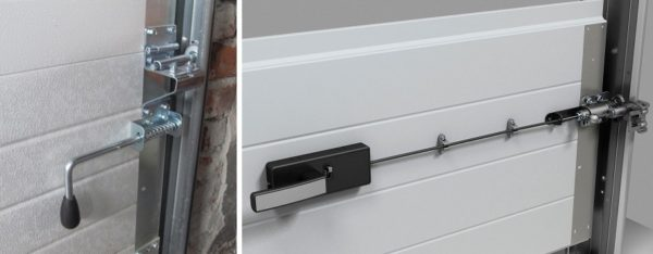 Два способа запирания секционных гаражных ворот