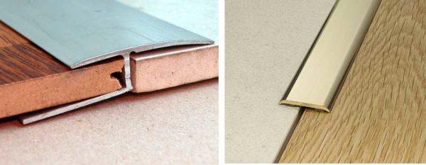 Алюминиевые порожки используют на прямых участках