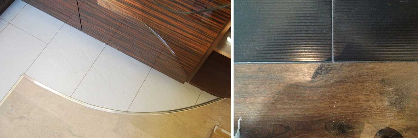 Два вида оформления места соединения плитки и ламината - с порожком и без