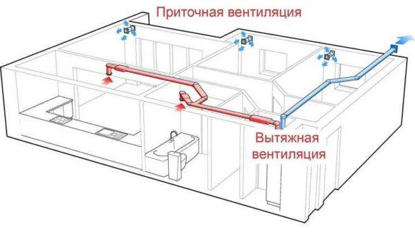 Приточно-вытяжная вентиляция в частном доме может быть организована таким образом: приточка децентрализованная, вытяжка - централизованная